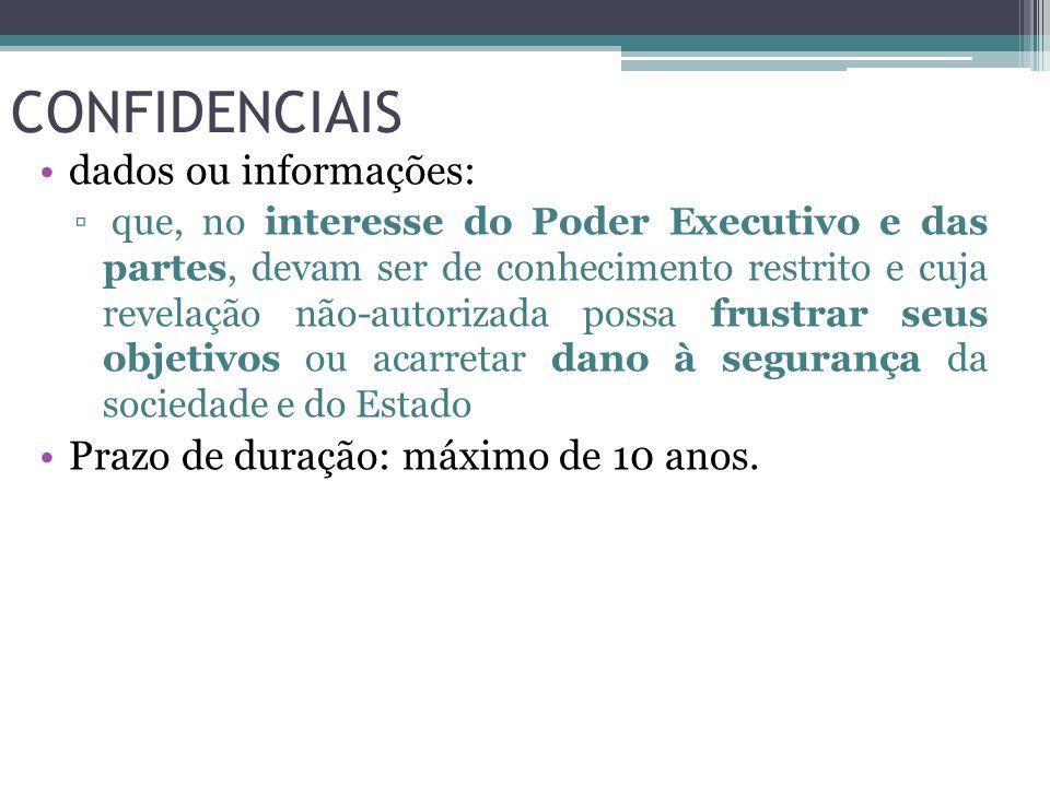 CONFIDENCIAIS dados ou informações: