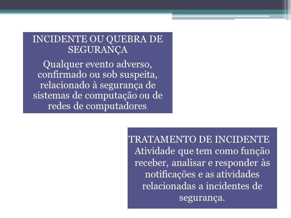 INCIDENTE OU QUEBRA DE SEGURANÇA