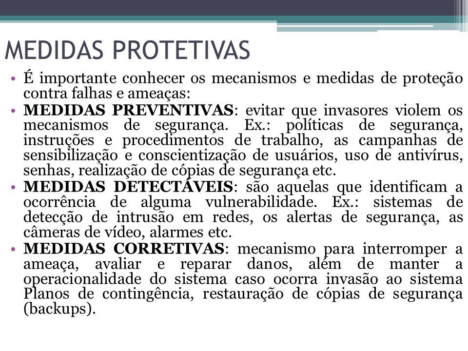 MEDIDAS PROTETIVAS É importante conhecer os mecanismos e medidas de proteção contra falhas e ameaças: