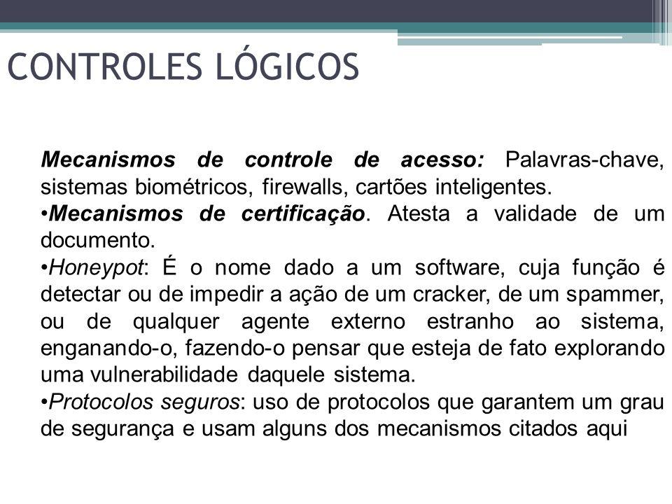 CONTROLES LÓGICOSMecanismos de controle de acesso: Palavras-chave, sistemas biométricos, firewalls, cartões inteligentes.