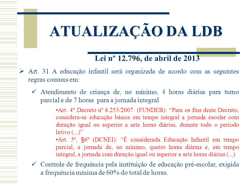ATUALIZAÇÃO DA LDB Lei nº 12.796, de abril de 2013