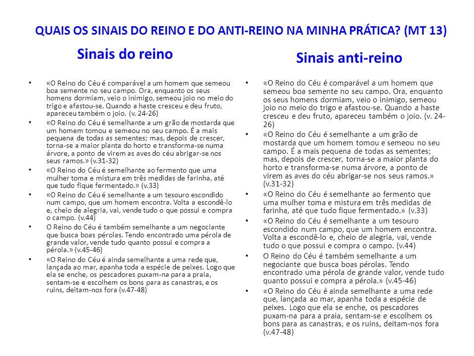 QUAIS OS SINAIS DO REINO E DO ANTI-REINO NA MINHA PRÁTICA (MT 13)