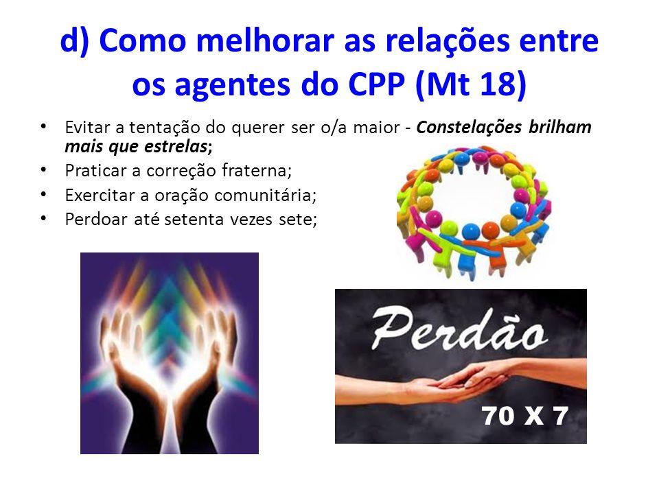 d) Como melhorar as relações entre os agentes do CPP (Mt 18)