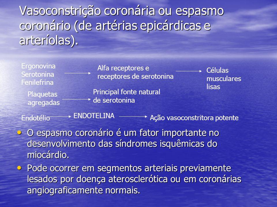 Vasoconstrição coronária ou espasmo coronário (de artérias epicárdicas e arteríolas).