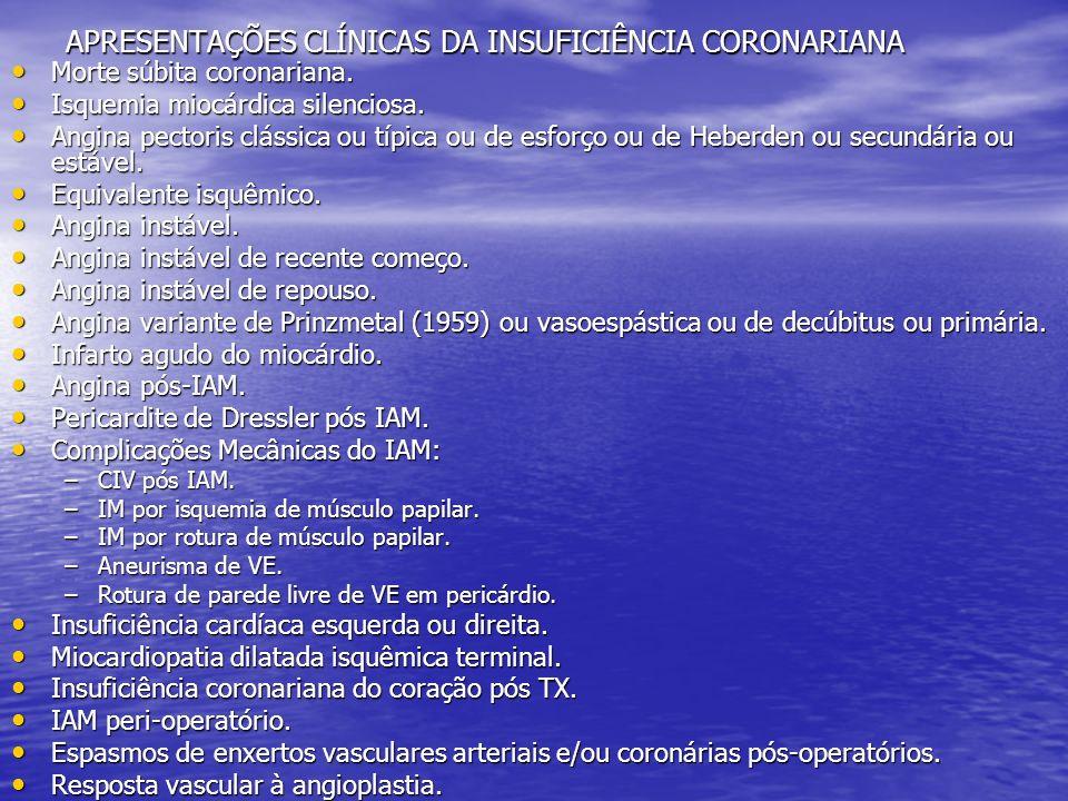 APRESENTAÇÕES CLÍNICAS DA INSUFICIÊNCIA CORONARIANA