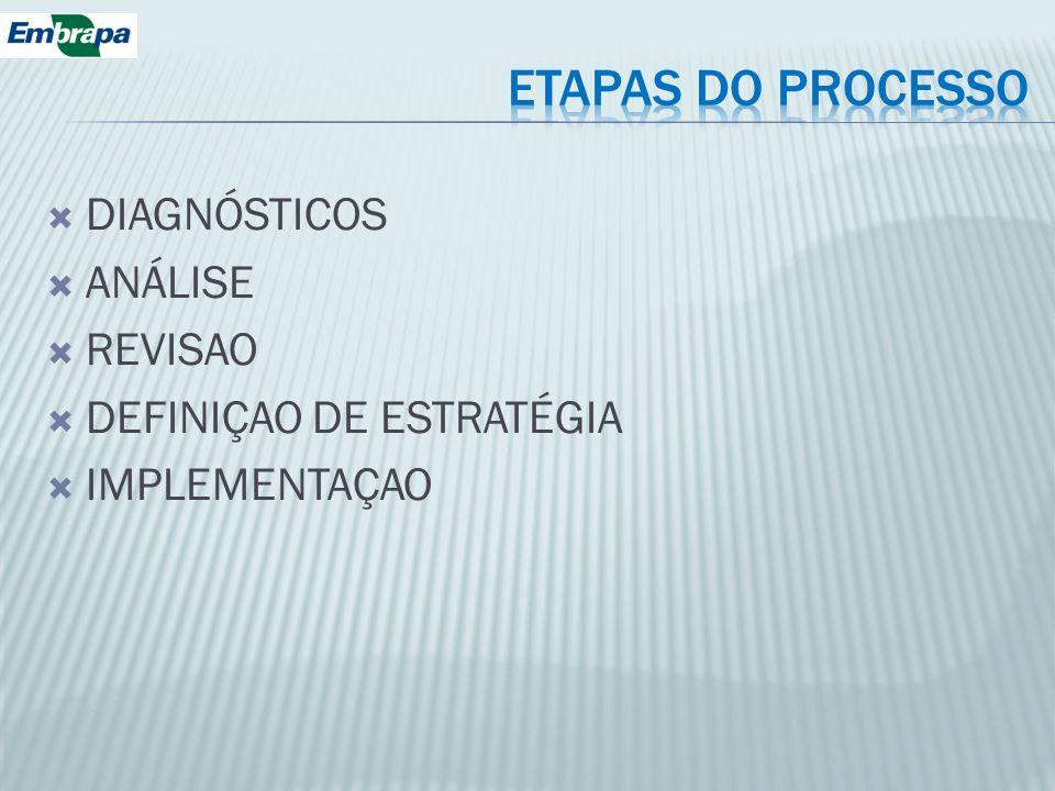 ETAPAS DO PROCESSO DIAGNÓSTICOS ANÁLISE REVISAO