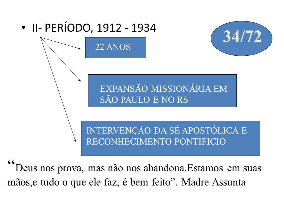 II- PERÍODO, 1912 - 1934 34/72. 22 ANOS. EXPANSÃO MISSIONÁRIA EM SÃO PAULO E NO RS. INTERVENÇÃO DA SÉ APOSTÓLICA E RECONHECIMENTO PONTIFICIO.