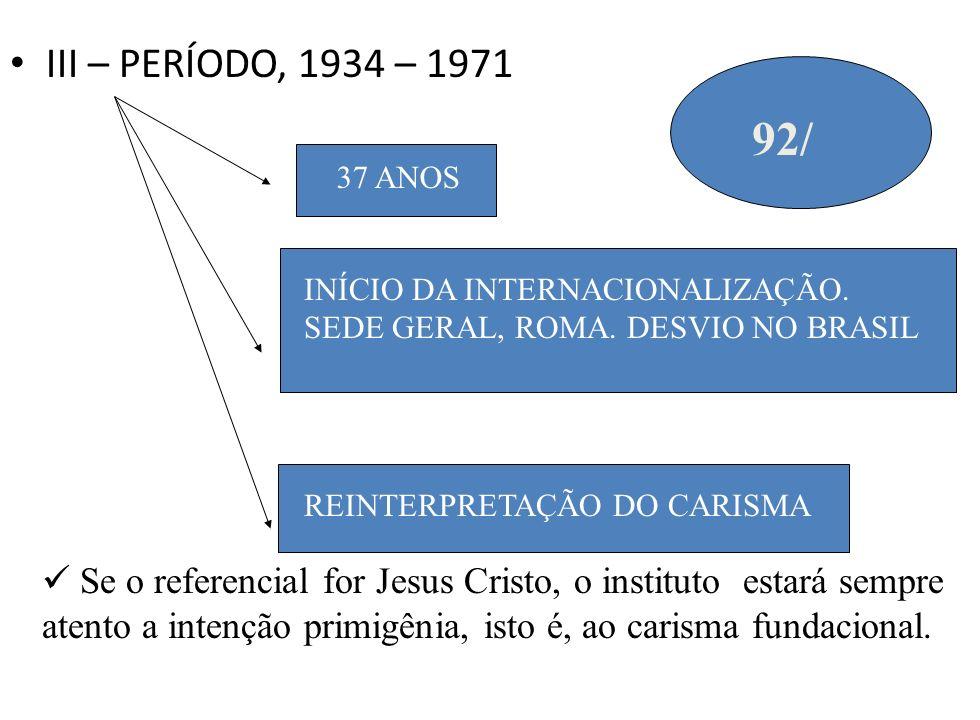 III – PERÍODO, 1934 – 197192/ 37 ANOS. INÍCIO DA INTERNACIONALIZAÇÃO. SEDE GERAL, ROMA. DESVIO NO BRASIL.