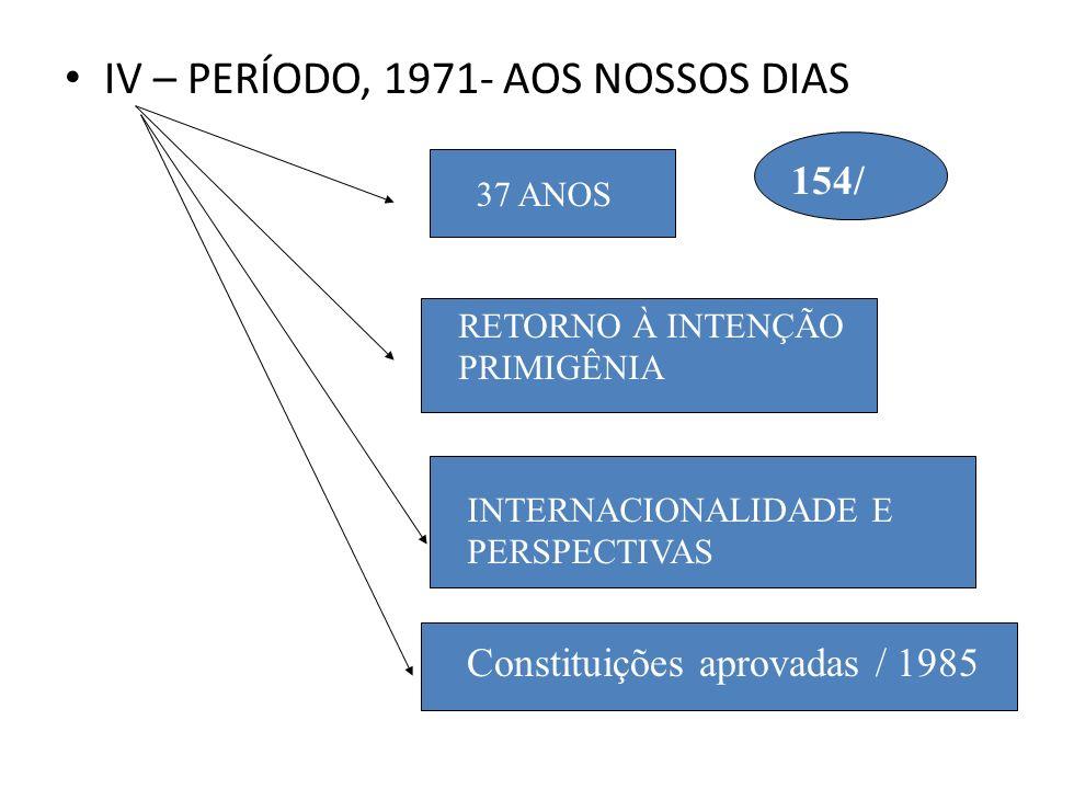 IV – PERÍODO, 1971- AOS NOSSOS DIAS