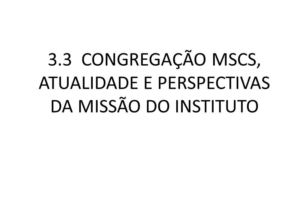 3.3 CONGREGAÇÃO MSCS, ATUALIDADE E PERSPECTIVAS DA MISSÃO DO INSTITUTO
