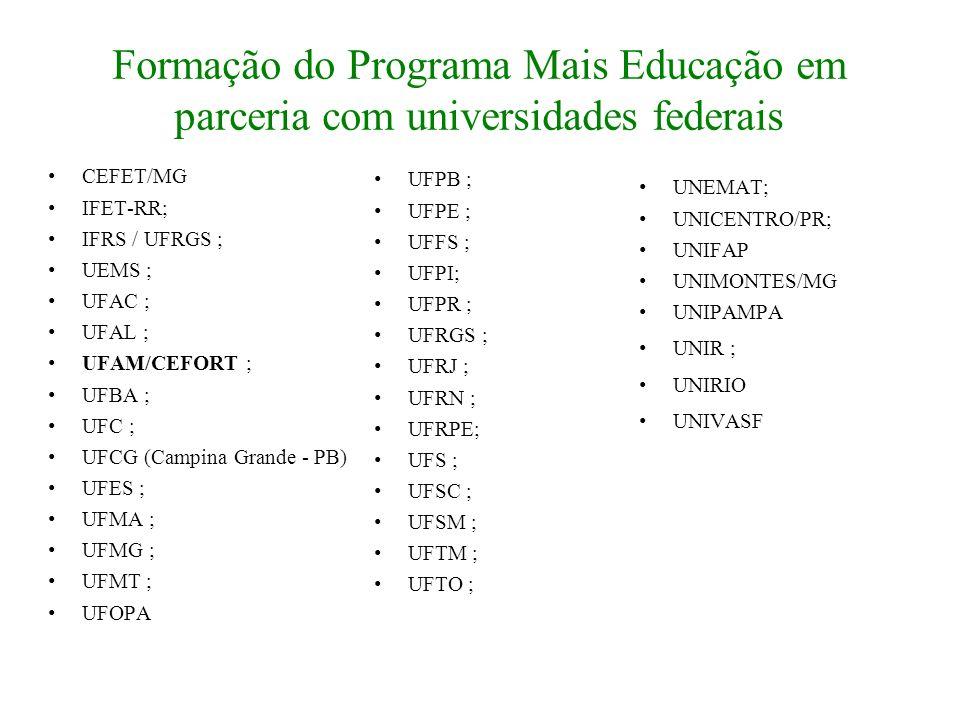 Formação do Programa Mais Educação em parceria com universidades federais