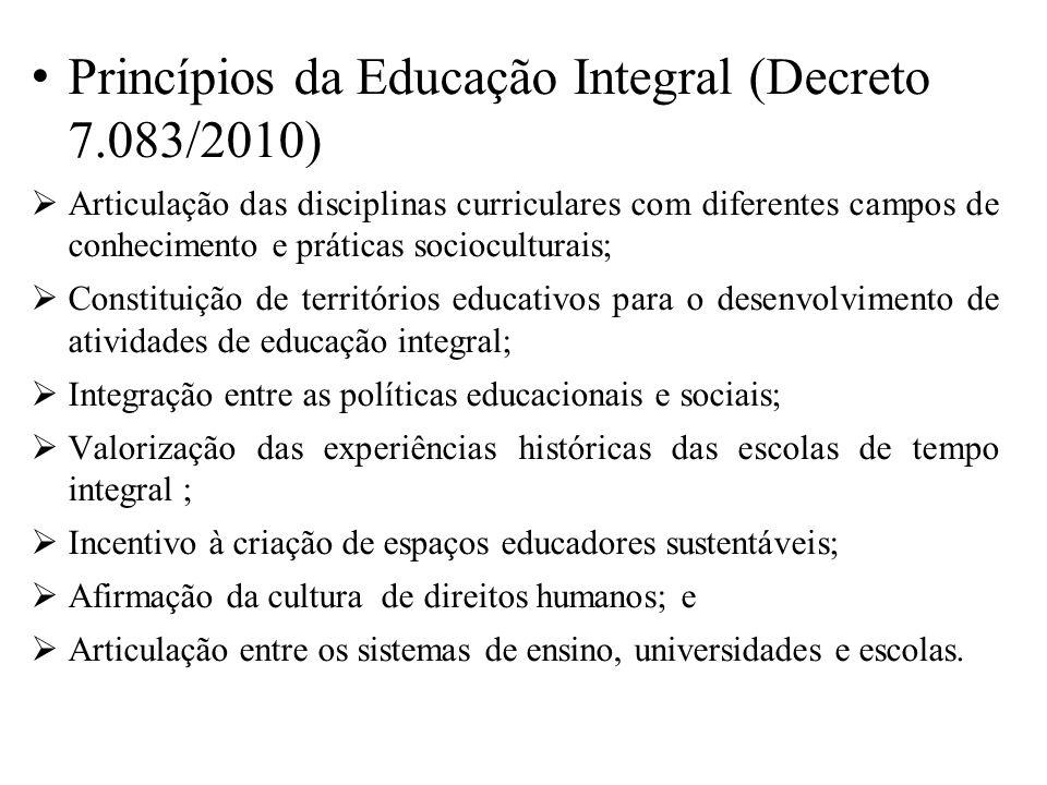 Princípios da Educação Integral (Decreto 7.083/2010)