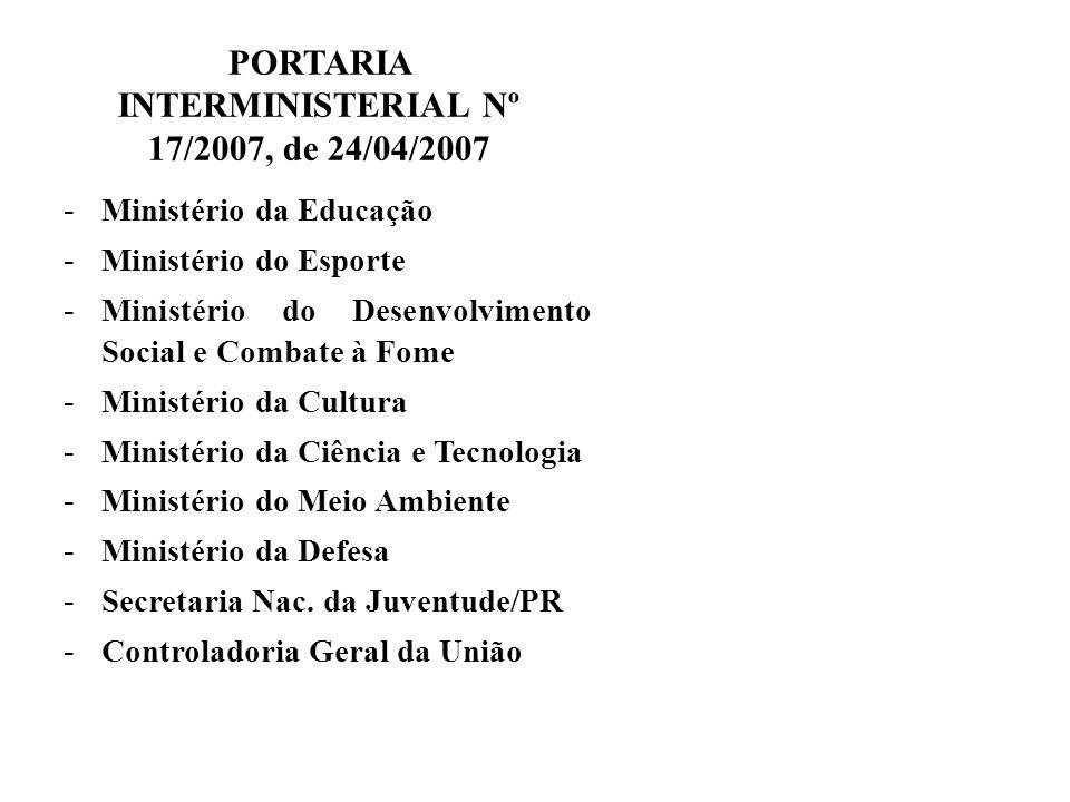 PORTARIA INTERMINISTERIAL Nº 17/2007, de 24/04/2007