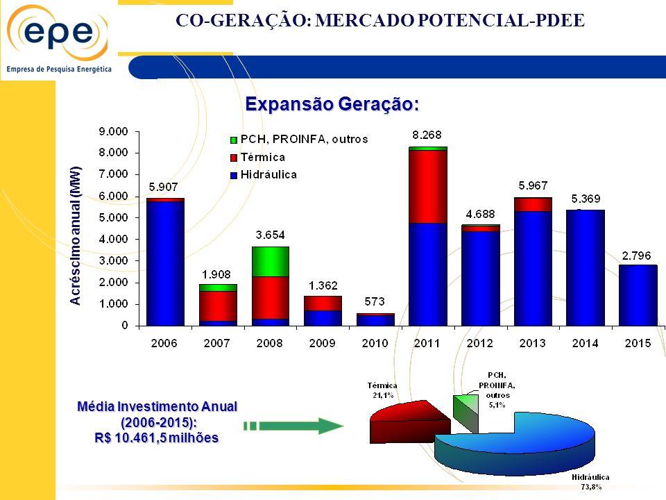 CO-GERAÇÃO: MERCADO POTENCIAL-PDEE Média Investimento Anual