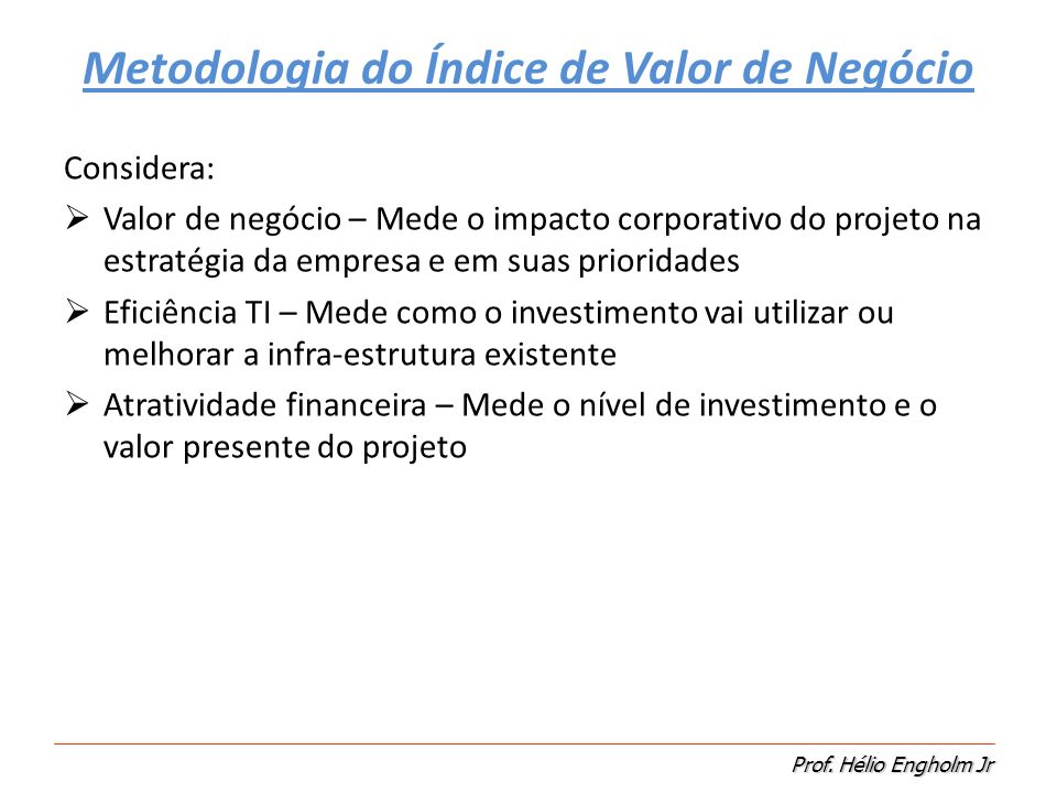 Metodologia do Índice de Valor de Negócio