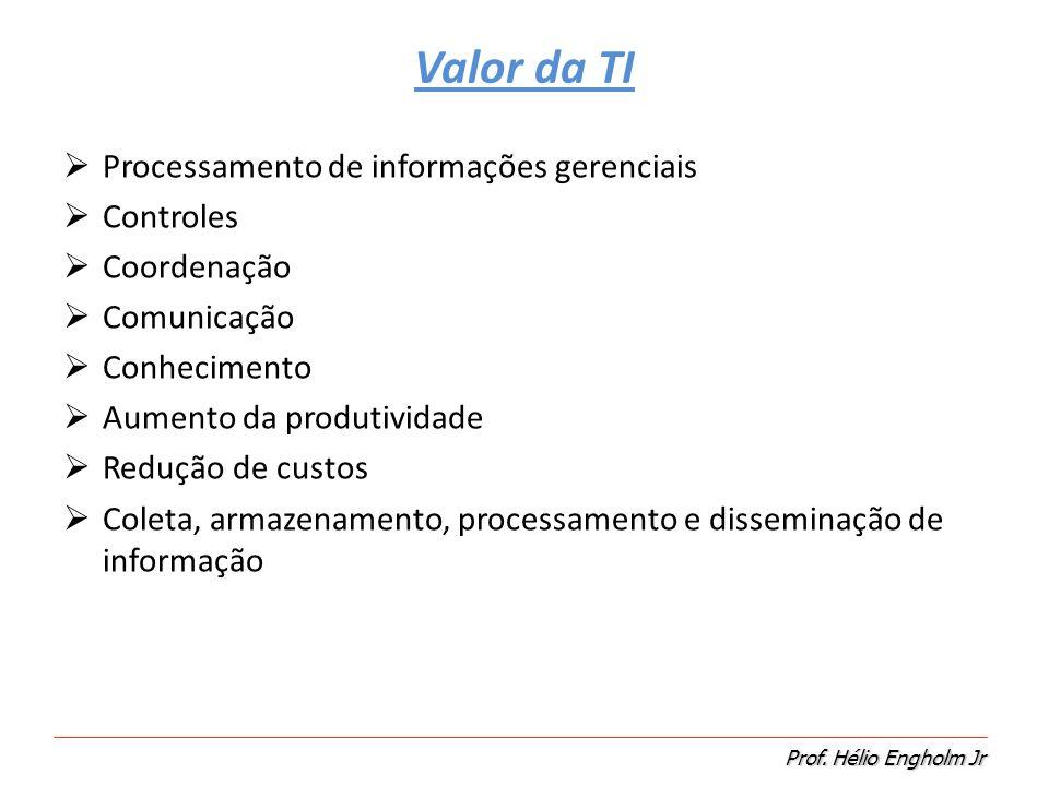 Valor da TI Processamento de informações gerenciais Controles
