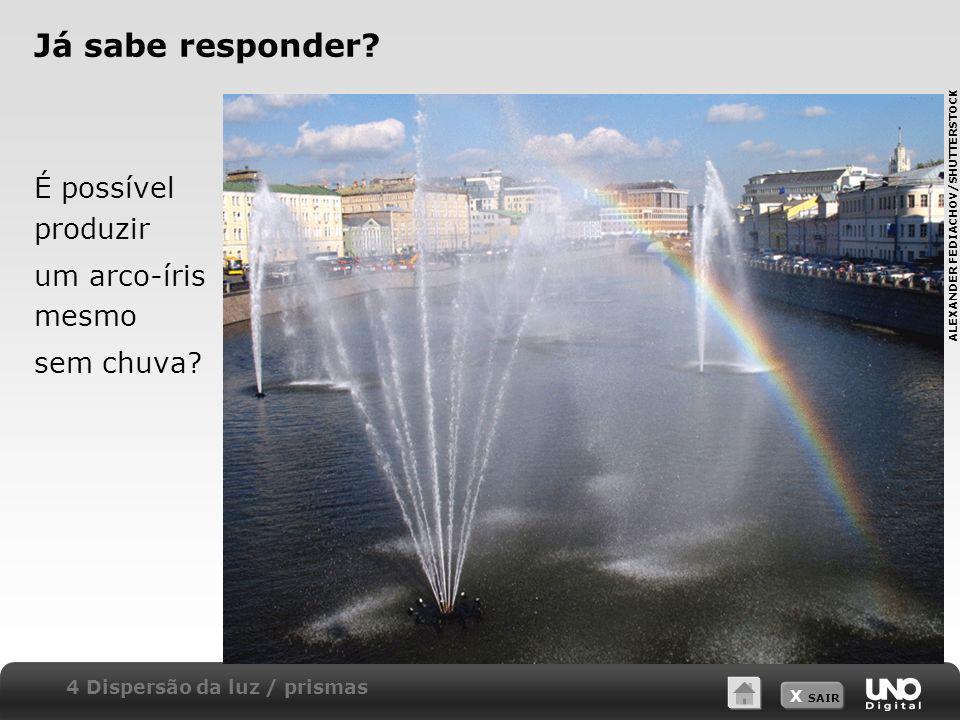 Já sabe responder É possível produzir um arco-íris mesmo sem chuva