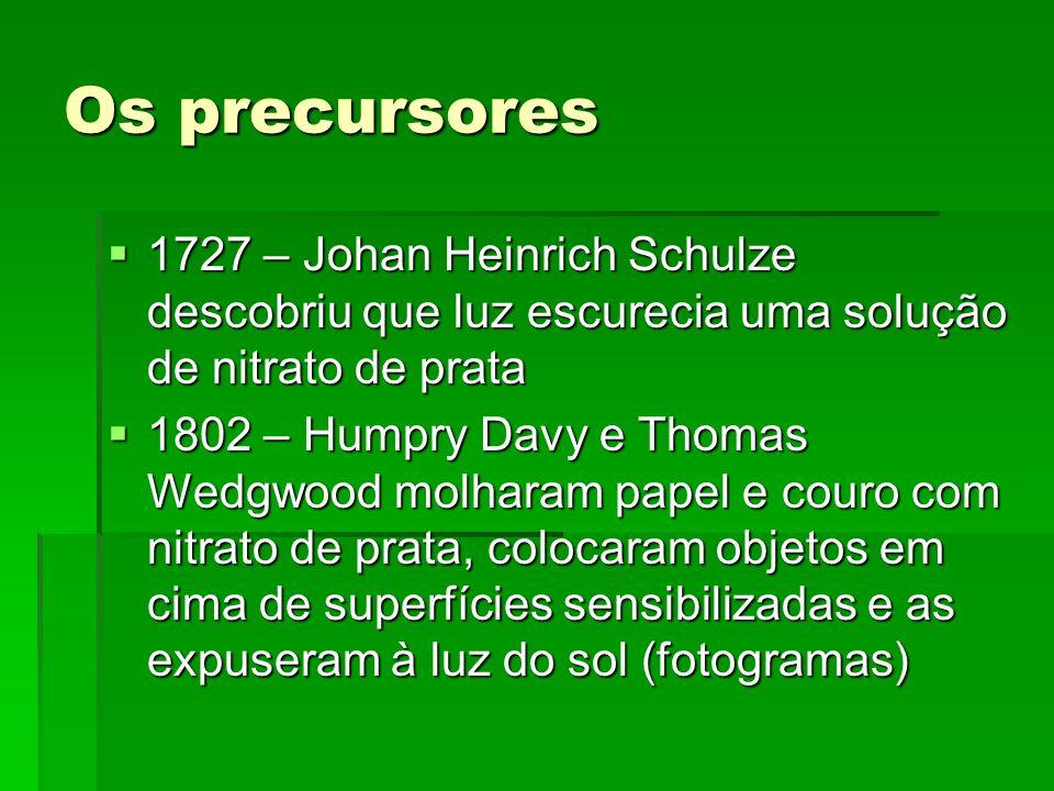 Os precursores 1727 – Johan Heinrich Schulze descobriu que luz escurecia uma solução de nitrato de prata.