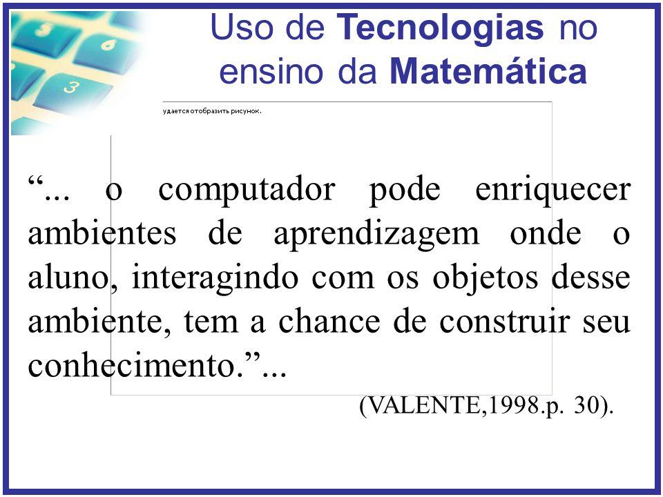 ... o computador pode enriquecer ambientes de aprendizagem onde o aluno, interagindo com os objetos desse ambiente, tem a chance de construir seu conhecimento. ...