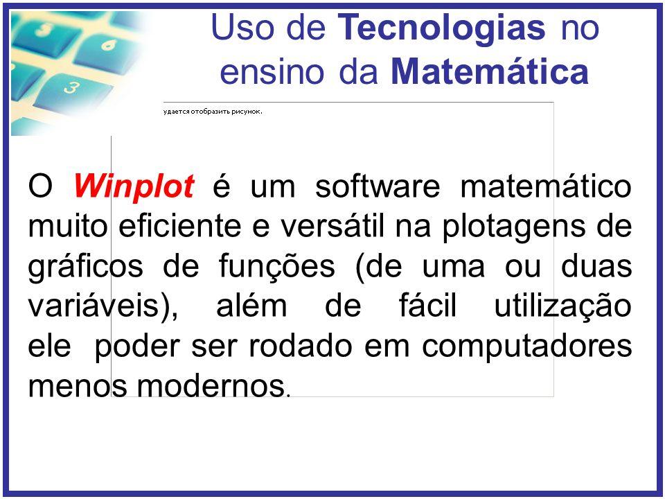 O Winplot é um software matemático muito eficiente e versátil na plotagens de gráficos de funções (de uma ou duas variáveis), além de fácil utilização ele poder ser rodado em computadores menos modernos.