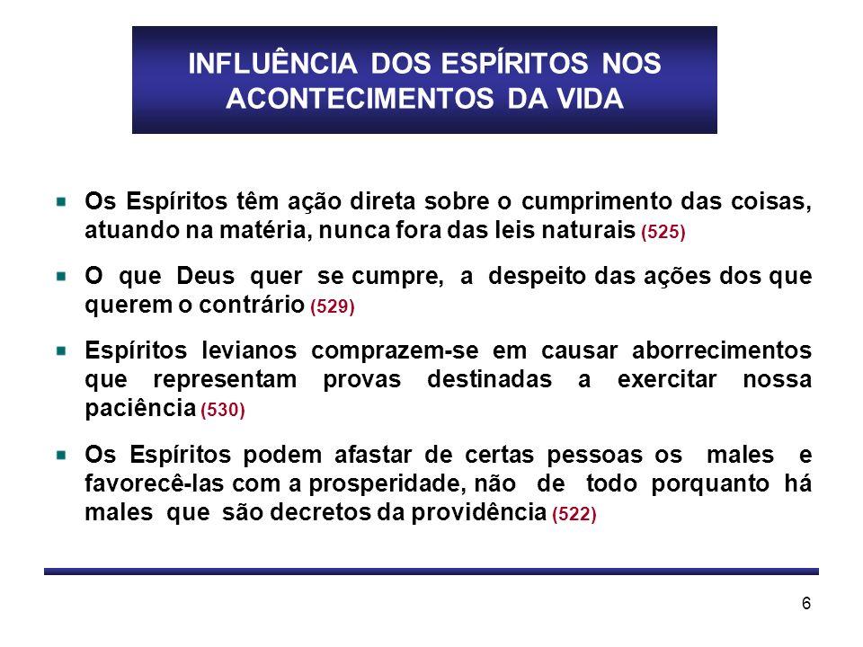 INFLUÊNCIA DOS ESPÍRITOS NOS ACONTECIMENTOS DA VIDA