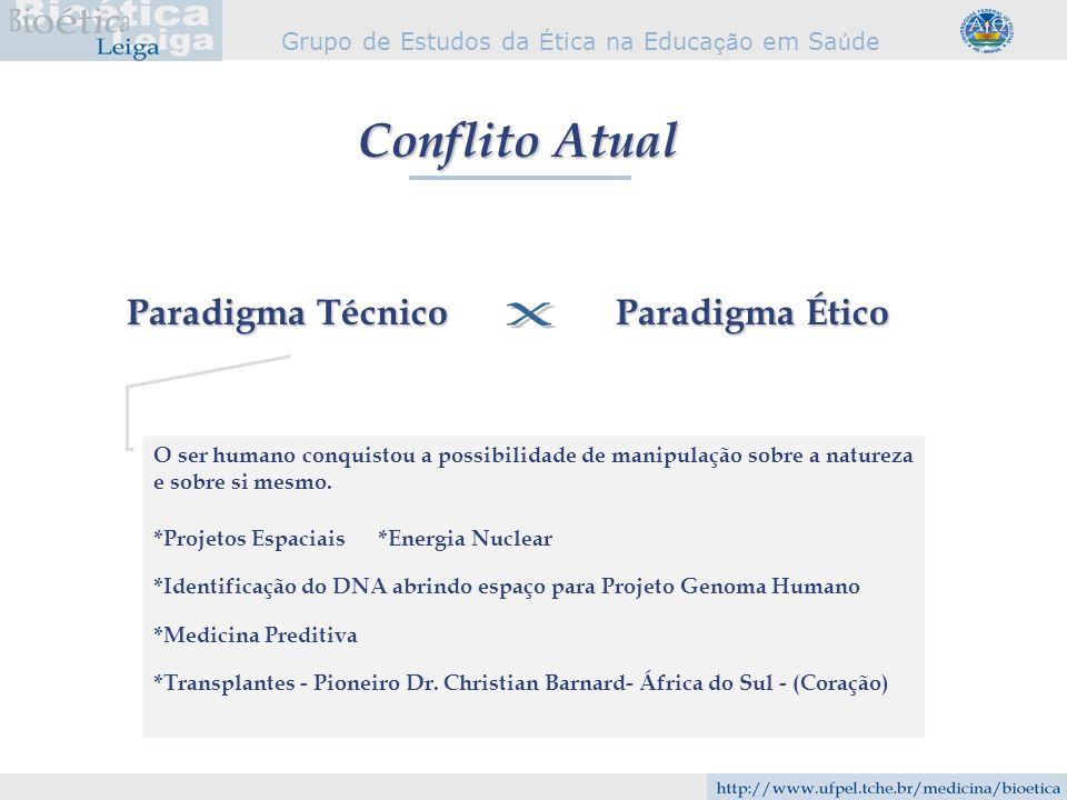 x Conflito Atual Paradigma Técnico Paradigma Ético