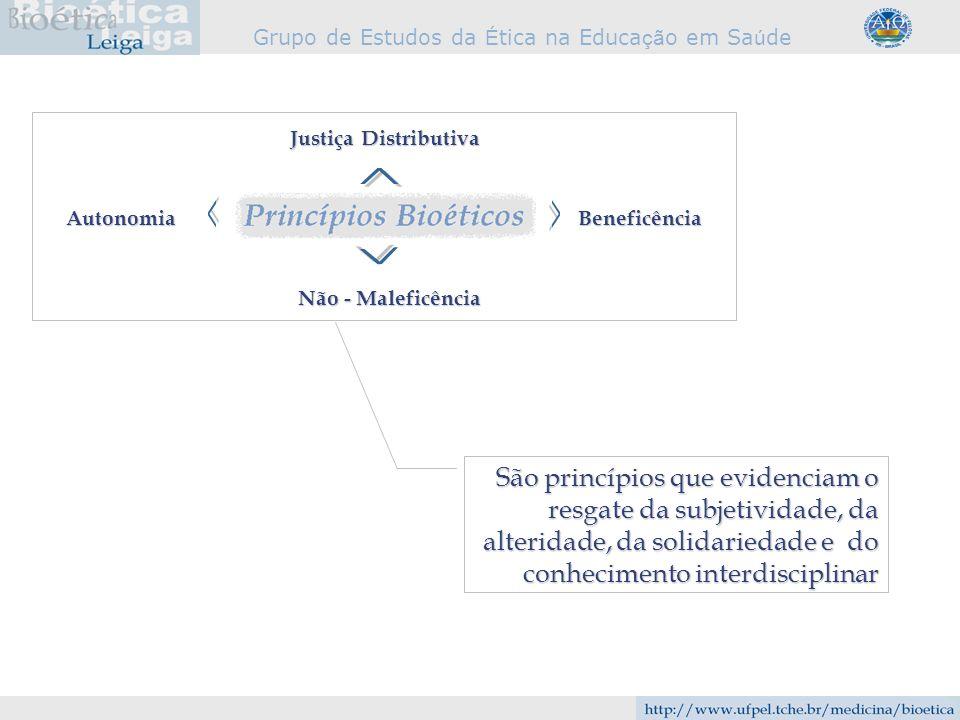 Justiça Distributiva ^ Autonomia. Beneficência. ^ ^ ^ Não - Maleficência.