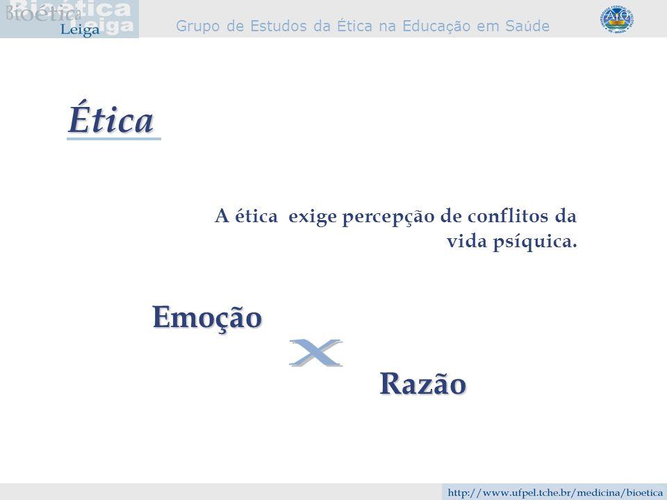 Ética A ética exige percepção de conflitos da vida psíquica. Emoção X Razão