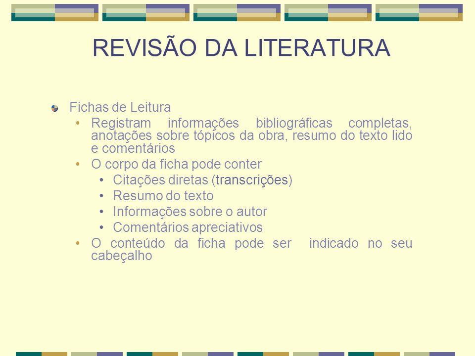REVISÃO DA LITERATURA Fichas de Leitura