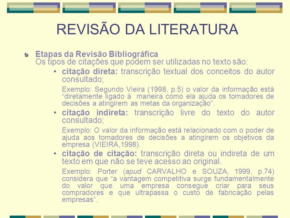REVISÃO DA LITERATURAEtapas da Revisão Bibliográfica Os tipos de citações que podem ser utilizadas no texto são: