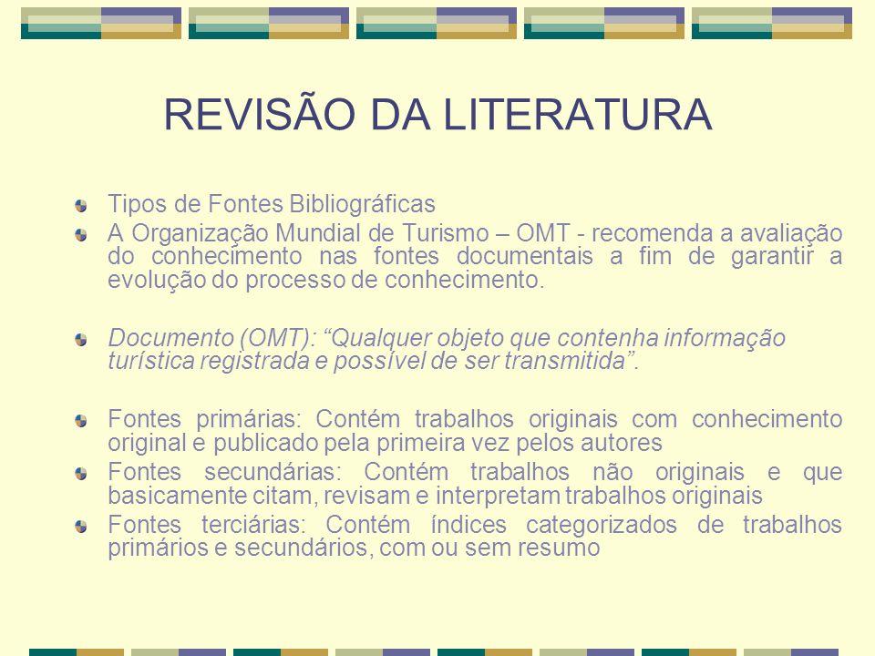 REVISÃO DA LITERATURA Tipos de Fontes Bibliográficas