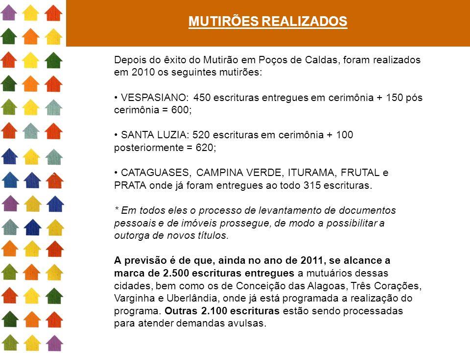 MUTIRÕES REALIZADOS Depois do êxito do Mutirão em Poços de Caldas, foram realizados em 2010 os seguintes mutirões: