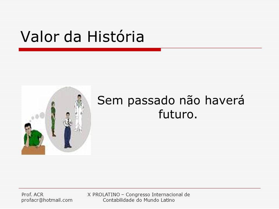 Valor da História Sem passado não haverá futuro. Prof. ACR