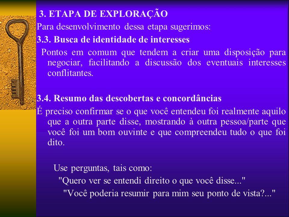 3. ETAPA DE EXPLORAÇÃOPara desenvolvimento dessa etapa sugerimos: 3.3. Busca de identidade de interesses.