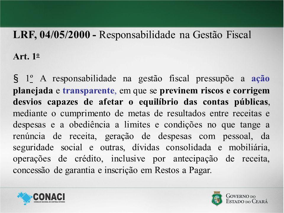 LRF, 04/05/2000 - Responsabilidade na Gestão Fiscal