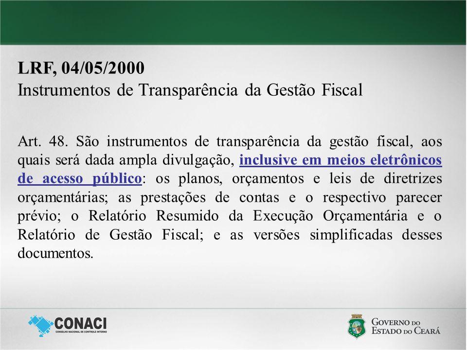 Instrumentos de Transparência da Gestão Fiscal