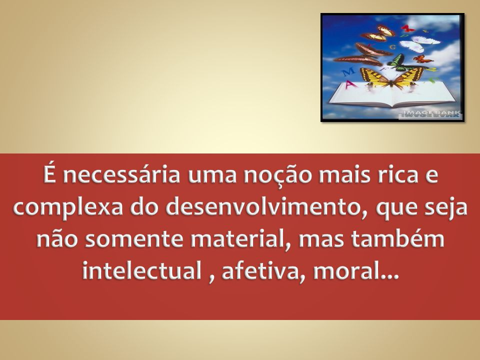 É necessária uma noção mais rica e complexa do desenvolvimento, que seja não somente material, mas também intelectual , afetiva, moral...