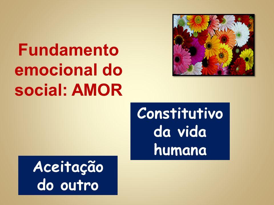 Fundamento emocional do social: AMOR Constitutivo da vida humana