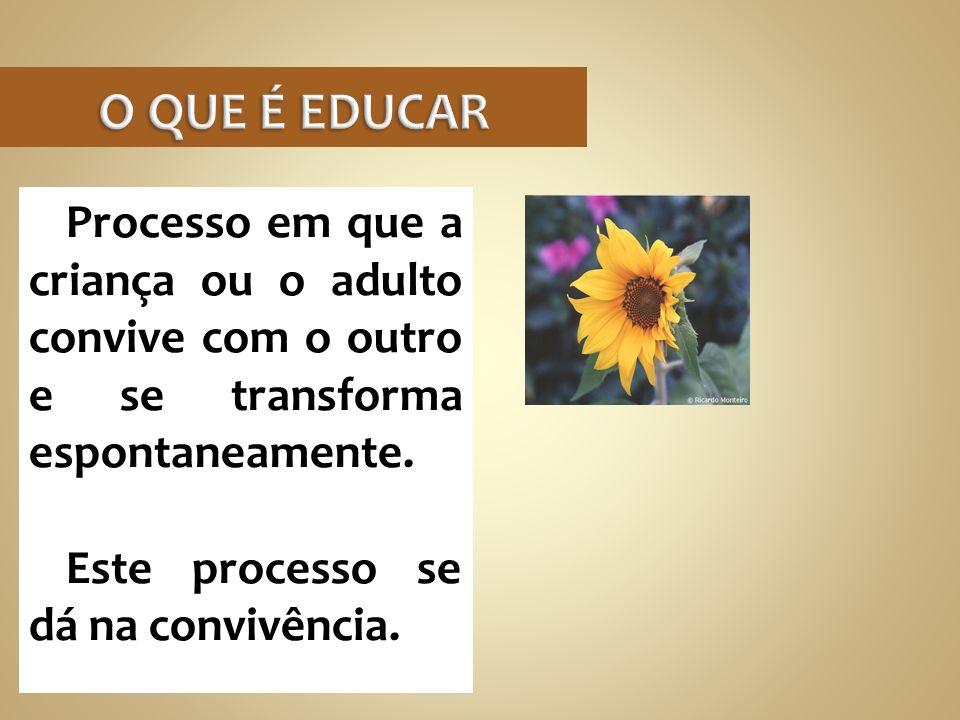 O QUE É EDUCAR Processo em que a criança ou o adulto convive com o outro e se transforma espontaneamente.