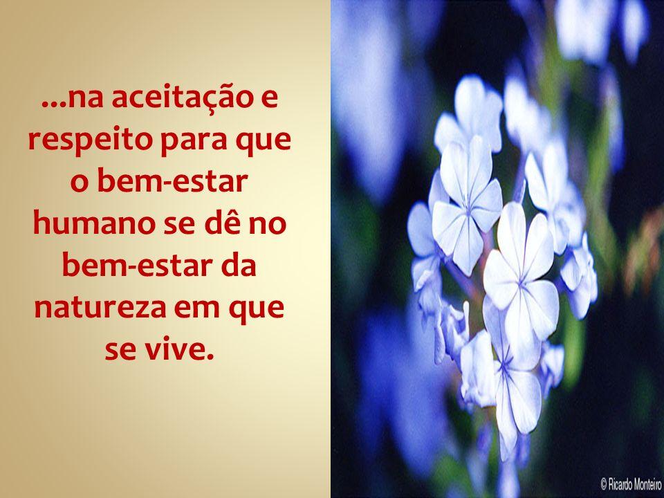 ...na aceitação e respeito para que. o bem-estar. humano se dê no. bem-estar da. natureza em que.