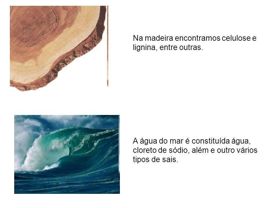 Na madeira encontramos celulose e lignina, entre outras.