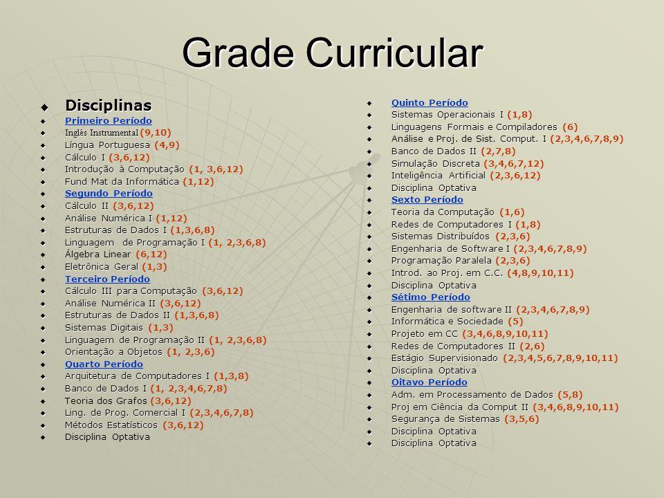 Grade Curricular Disciplinas Quinto Período