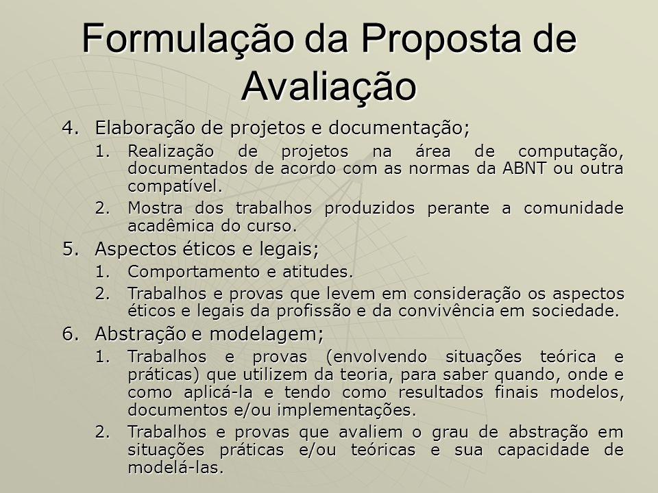 Formulação da Proposta de Avaliação
