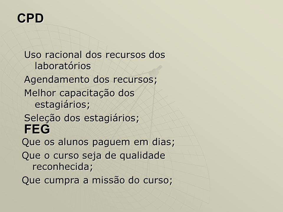 CPD FEG Uso racional dos recursos dos laboratórios