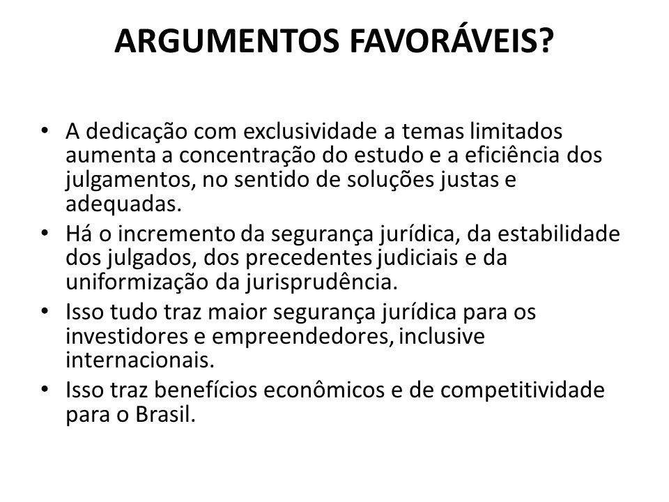 ARGUMENTOS FAVORÁVEIS