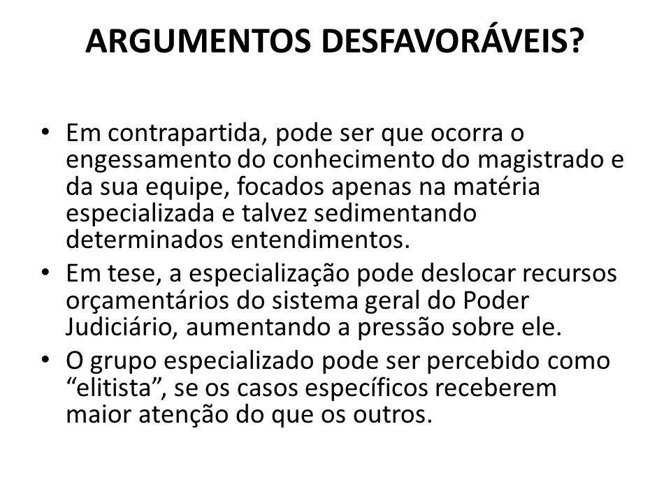 ARGUMENTOS DESFAVORÁVEIS