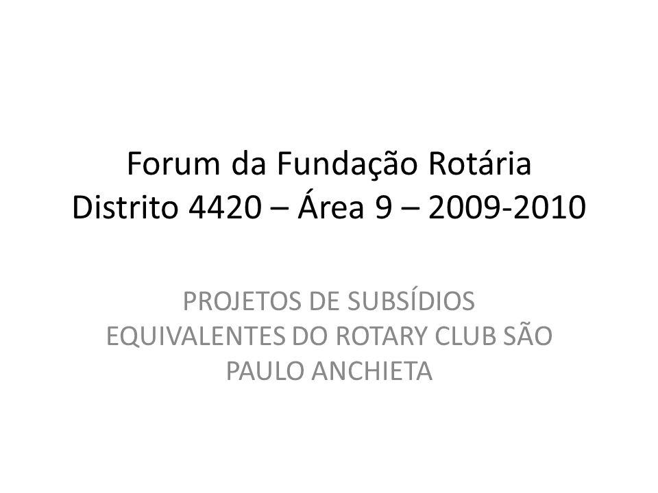 Forum da Fundação Rotária Distrito 4420 – Área 9 – 2009-2010