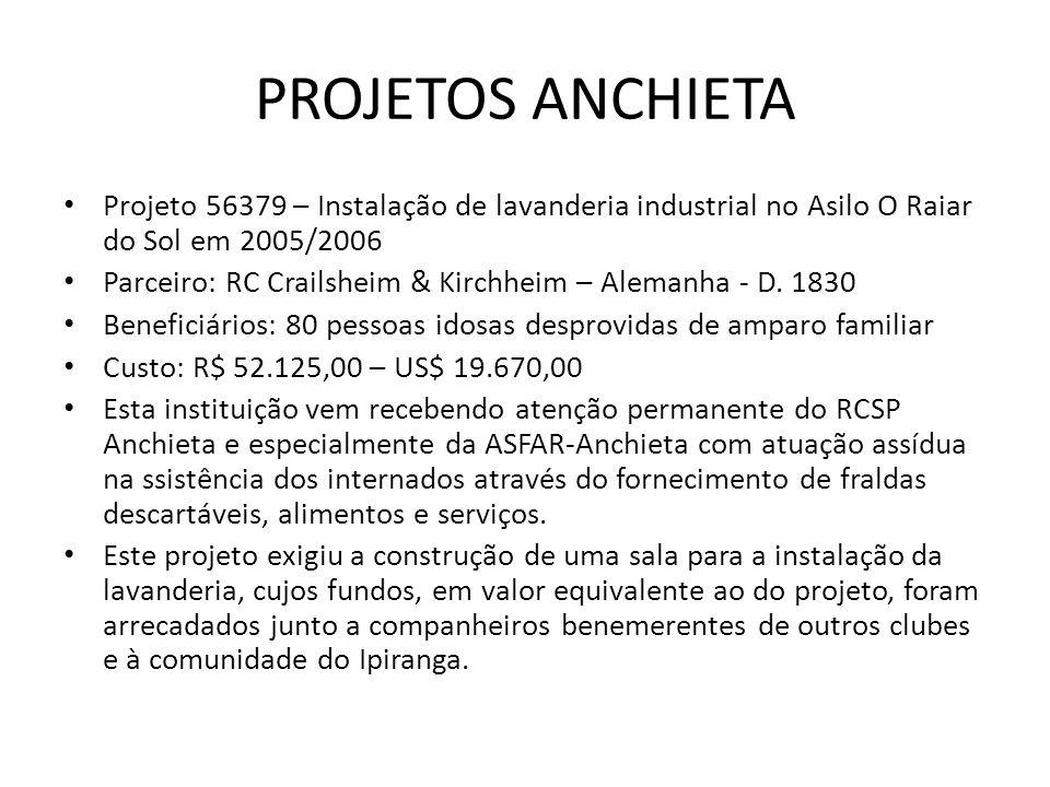 PROJETOS ANCHIETA Projeto 56379 – Instalação de lavanderia industrial no Asilo O Raiar do Sol em 2005/2006.