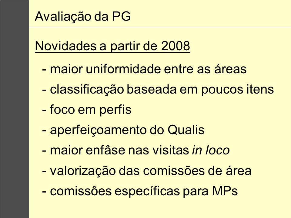 Avaliação da PGNovidades a partir de 2008. - maior uniformidade entre as áreas. - classificação baseada em poucos itens.
