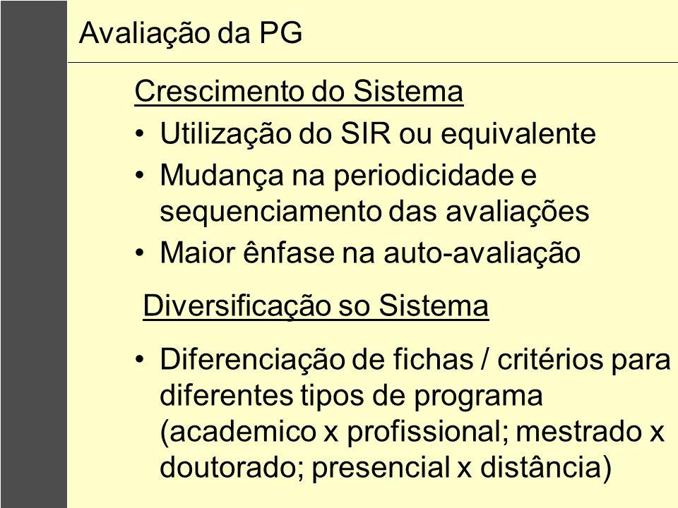 Avaliação da PG Crescimento do Sistema. Utilização do SIR ou equivalente. Mudança na periodicidade e sequenciamento das avaliações.
